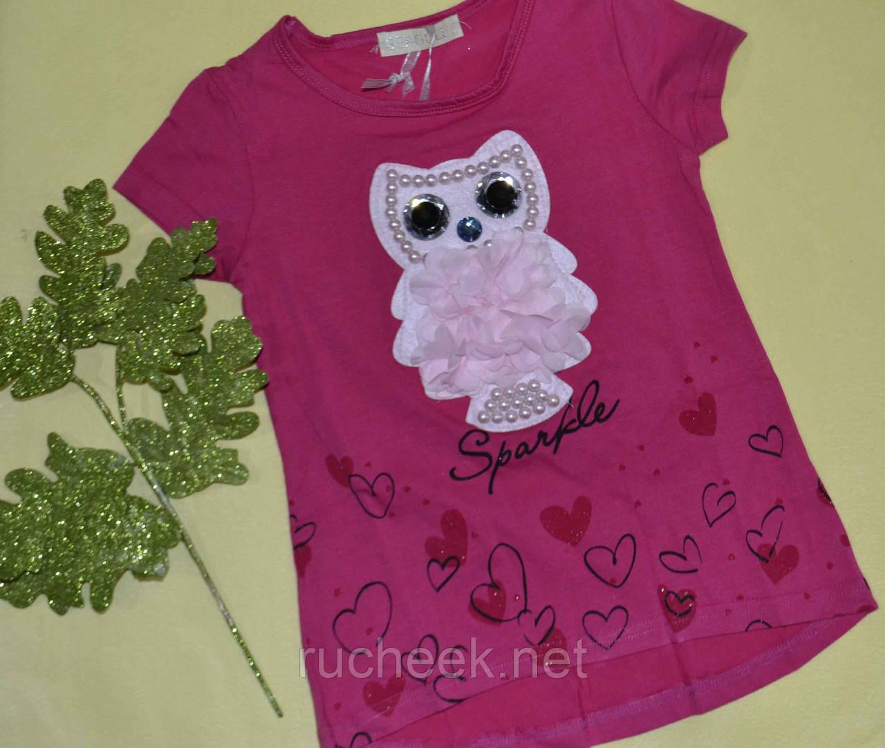 Красивая футболка  для девочек принт сова р - ры 4-12 Seagull CSQ 52248  6 лет малиновый