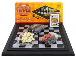 Магнитная игра 4 в 1 (шахматы, шашки, нарды, карты)