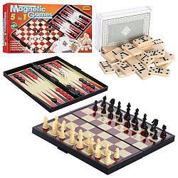 """Магнитная игра 5 в 1 """"Шахматы, шашки, нарды, домино, карты"""" 9841A"""