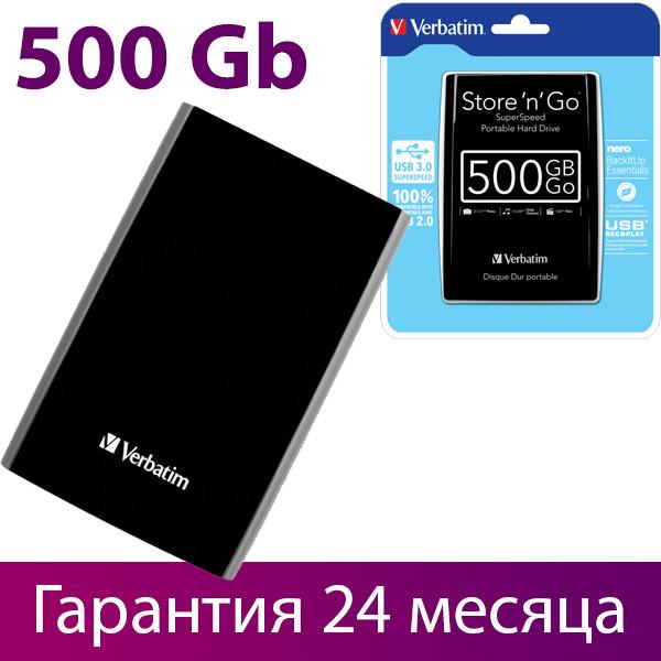 """Внешний жесткий диск 500 Гб/Gb Verbatim Store""""n""""Go, USB 3.0, 5400 rpm (53029), портативный винчестер"""