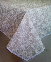 Скатерть Прованс White Rose с кружевной тесьмой 120х140 см