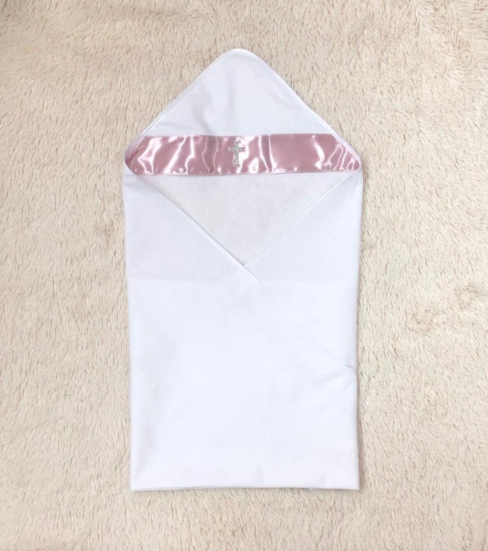 Крестильная пеленка крыжма Ангел (розовая)