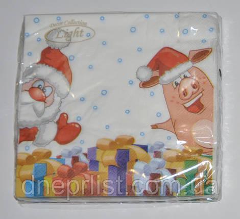 """Салфетки 3х-слойные новогодние 18 шт, 33*33 см """"Silken"""" / Свинка и Дед Мороз, фото 2"""