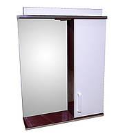 Зеркало 55 для ванной комнаты с подсветкой и шкафчиком Дебют Перфект бордо
