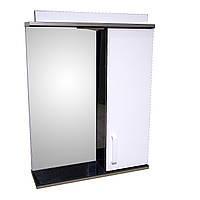 Дзеркало 55 для ванної кімнати з підсвічуванням і шафою Дебют Перфект чорний
