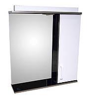Зеркало 65 для ванной комнаты с подсветкой и шкафчиком Дебют Перфект  черное