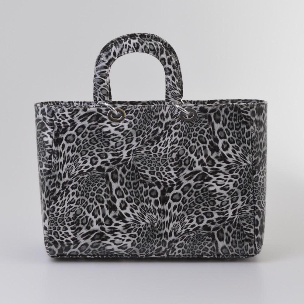 Сумка женская с леопардовым черно-белым принтом 14781