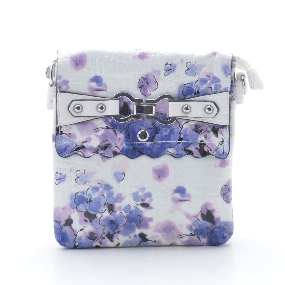 Женский клатч белый с синими цветами 66894