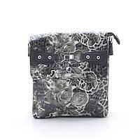 Женский клатч черно белый с цветами лакированный 82806, фото 1