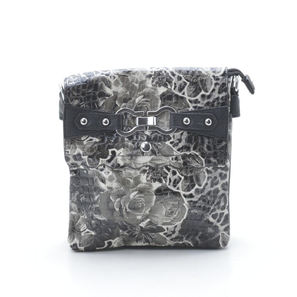Женский клатч черно белый с цветами лакированный 82806