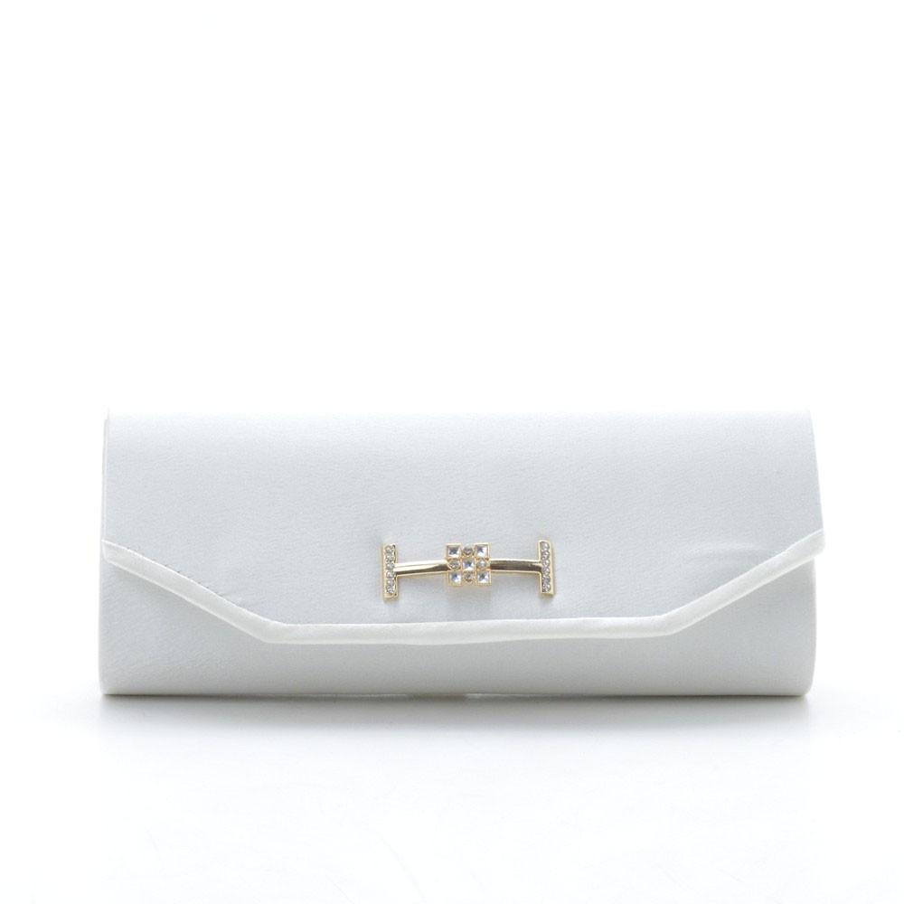 Вечерний женский клатч белоснежный на золотистой цепочке 87446