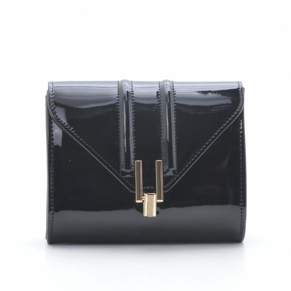 Женский клатч черный лакированный квадратный 88172