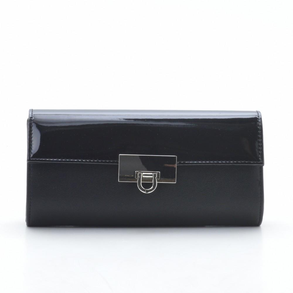 Вечерний женский клатч черный лакированный на цепочке 88283
