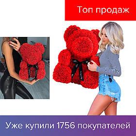 40 см Мишка из 3D роз Teddy De Luxe Rose Bear, в коробке, красный, большой 2019