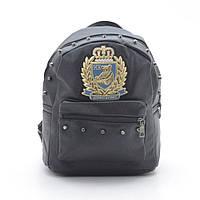 Рюкзак черный с эмблемой кожзам 99709