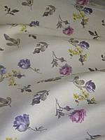 Ткань в стиле прованс, рисунок разные мелкие фиолетовые цветы, на молочном фоне