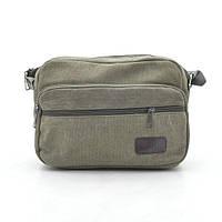 Мужская сумка через плечо серо-зеленая тканевая 164065