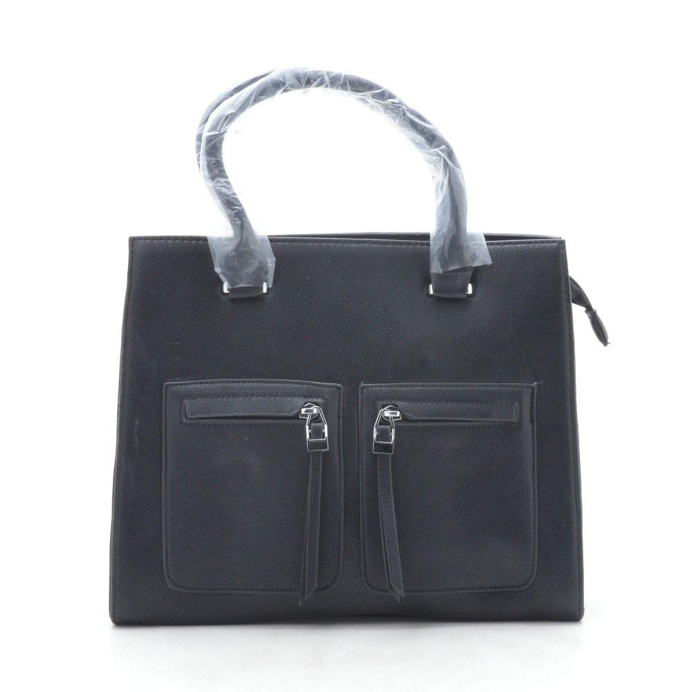 Сумка женская черная с карманами 164833