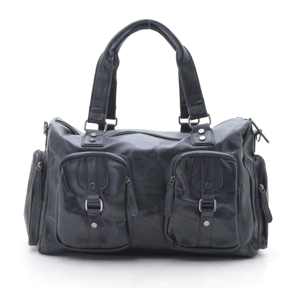Дорожная сумка черная, кожзам 167582