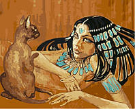 Рисуем по номерам DIY Babylon Египтянка с кошкой худ Фаттах Галла (VP424) 40 х 50 см