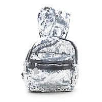 Рюкзак женский с пайетками серебрянный с ушами 170869, фото 1