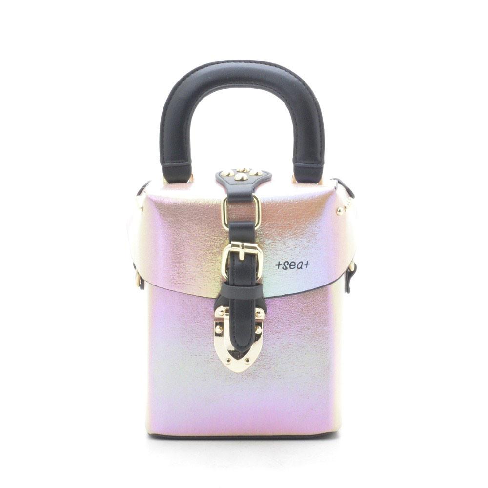 Женский клатч светло розовый сундучок 172102