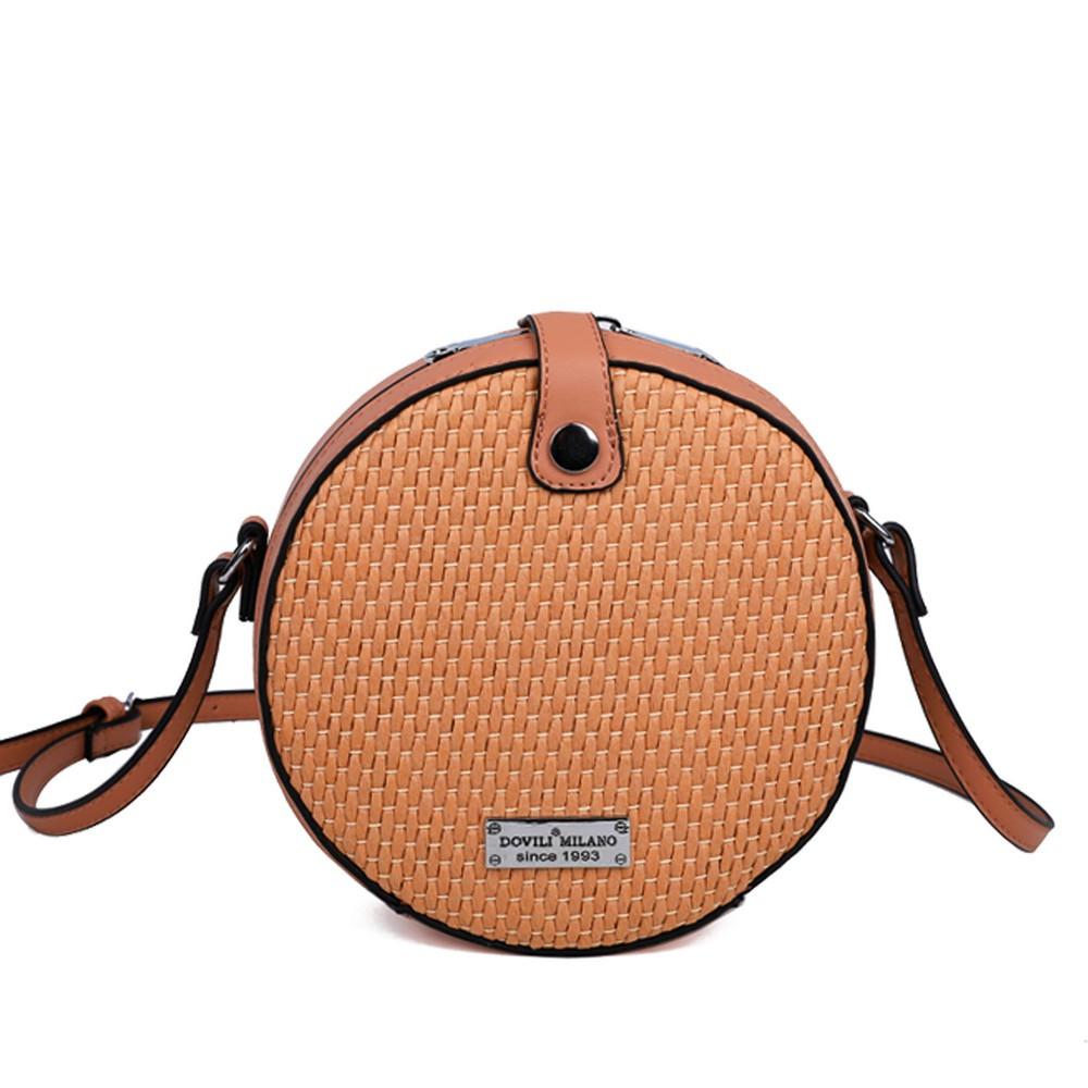 Женский клатч коричневый круглый с имитацией соломы 173654