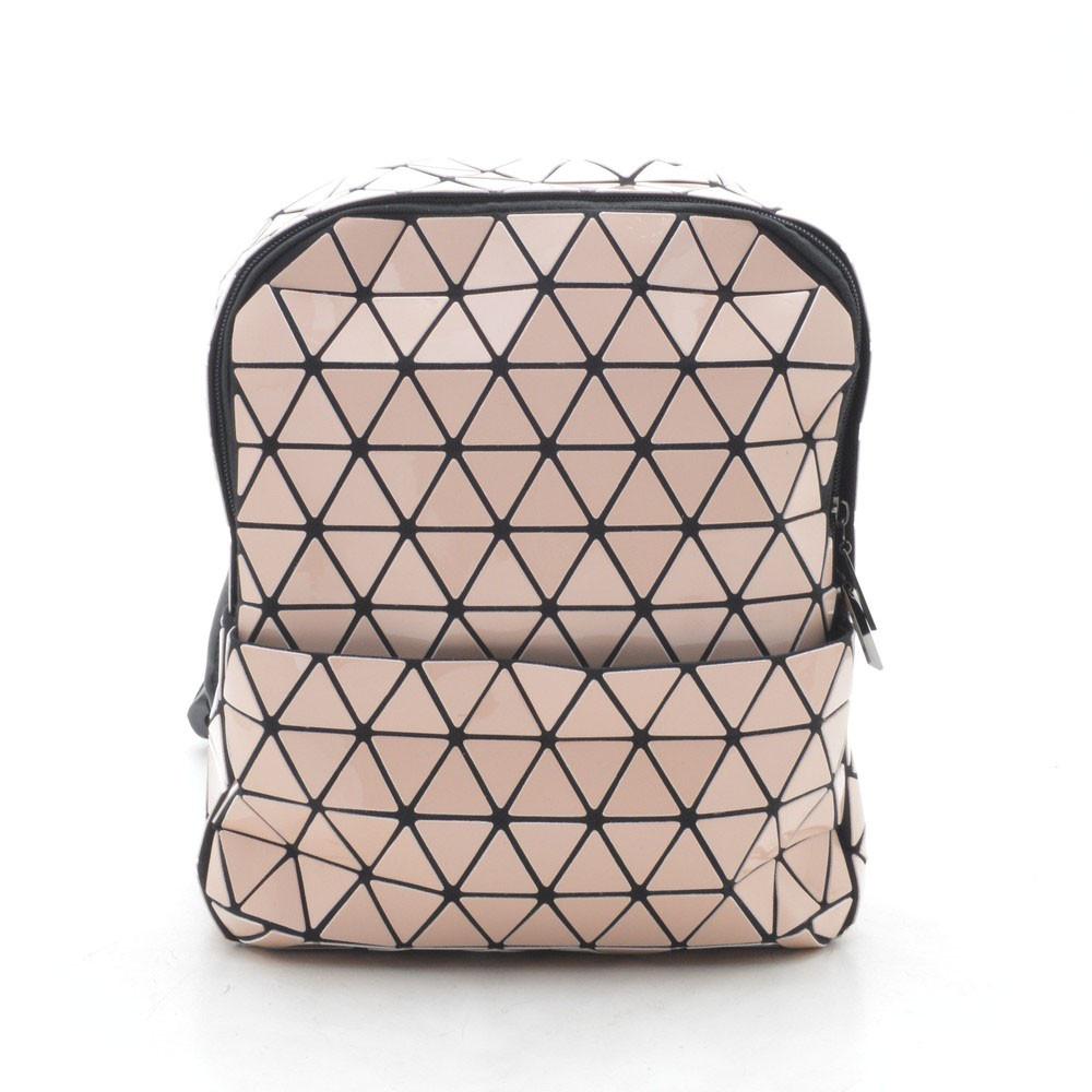 Рюкзак женский розовый (лак) треугольниками 175669