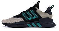 Мужские кроссовки Adidas EQT 91/18 Packer Black Green (адидас ект, черные/бежевые/зеленые)