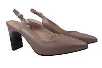 Туфли женские летние на каблуке Geronea натуральная кожа, цвет визон