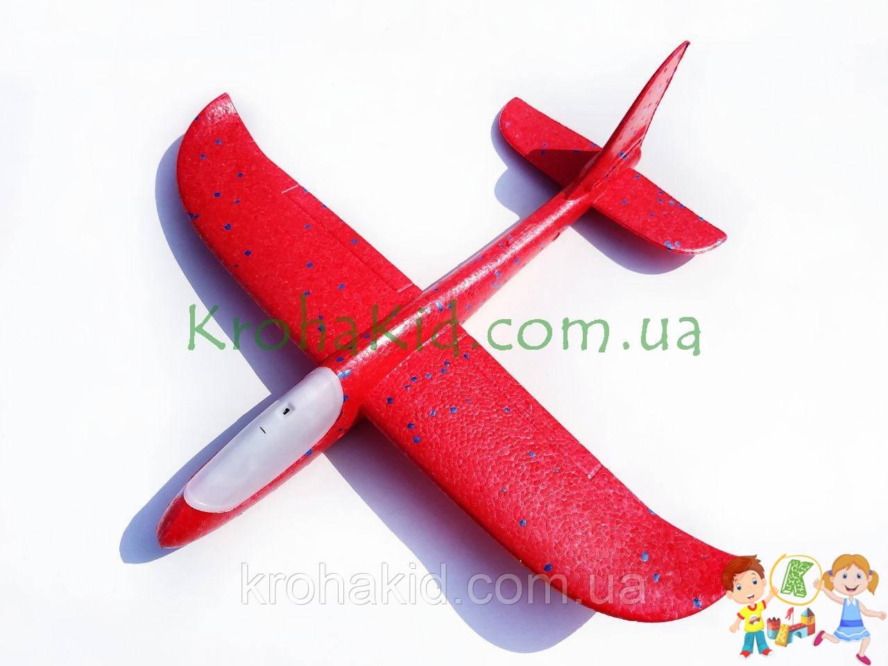 Самолёт планер метательный Explosion Y8551-49 светящийся (большой размах крыльев 49 см) Красный