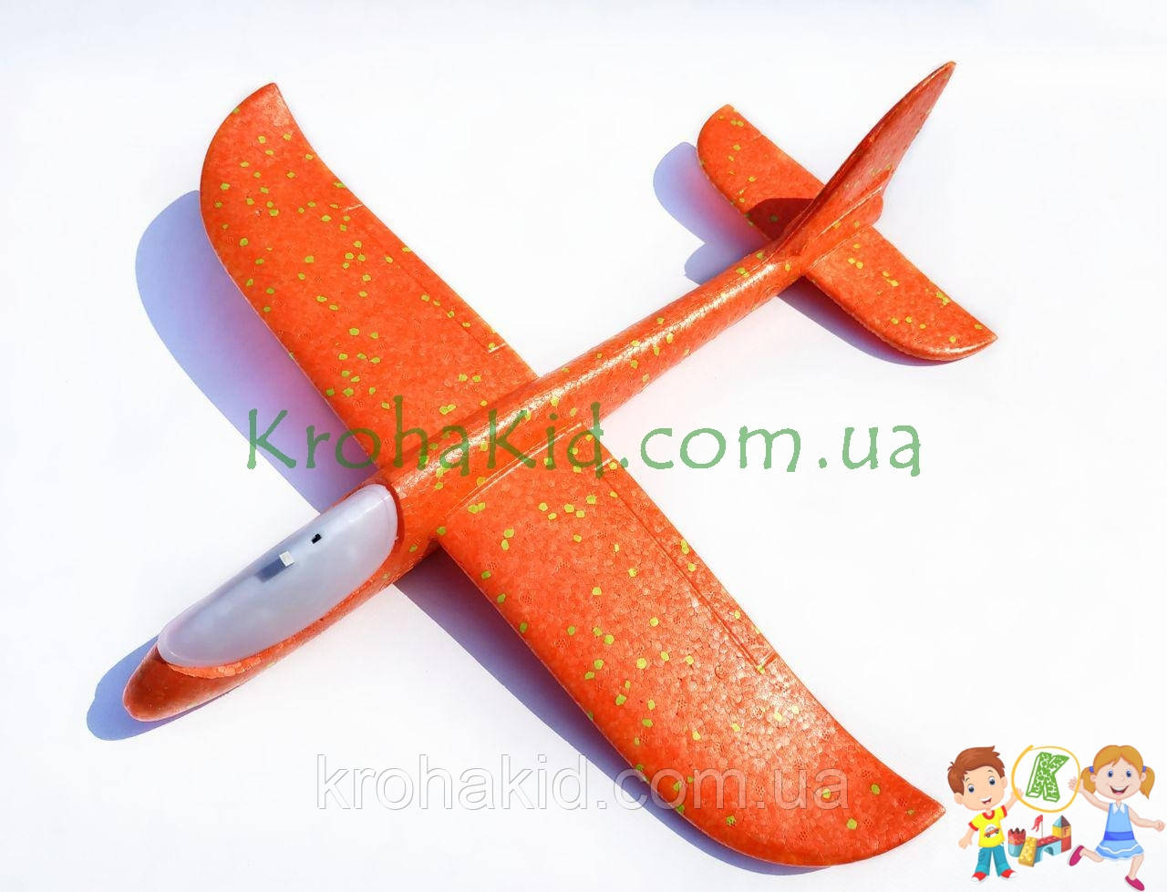 Самолёт планер метательный Explosion Y8551-49 светящийся (большой размах крыльев 49 см) Оранжевый
