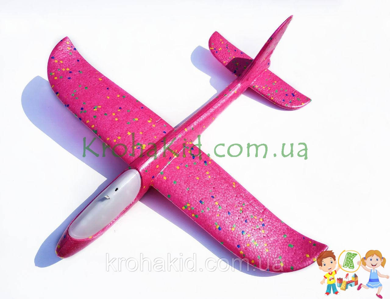 Літак планер метальний Explosion Y8551-49 світиться (великий розмах крил 49 см) Рожевий