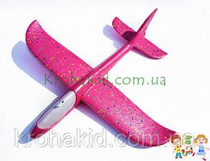 Літак планер метальний Explosion Y8551-49 світиться (великий розмах крил 49 см) Рожевий, фото 2