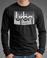 "0008-LS-BK Мужская футболка лонгслив ""URBN"".  Черная"