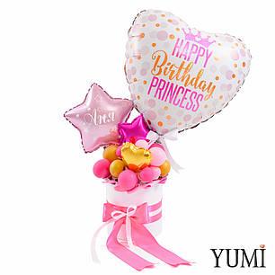 Композиция из мини-фигур Сердце Happy birthday Princess и розовые, фуксия и золотые звезды и сердца мини, фото 2