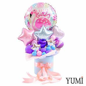 Композиция: Круг фламинго Happy birthday c розовыми, голубыми и сиреневыми звездами и сердцами мини, фото 2