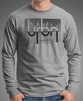 "0008-LS-GM  Мужская футболка с длинными рукавами ""URBN"". Серый меланж"