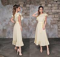 Женское летнее платье миди с воланами.Размеры:42-46.+Цвета, фото 1