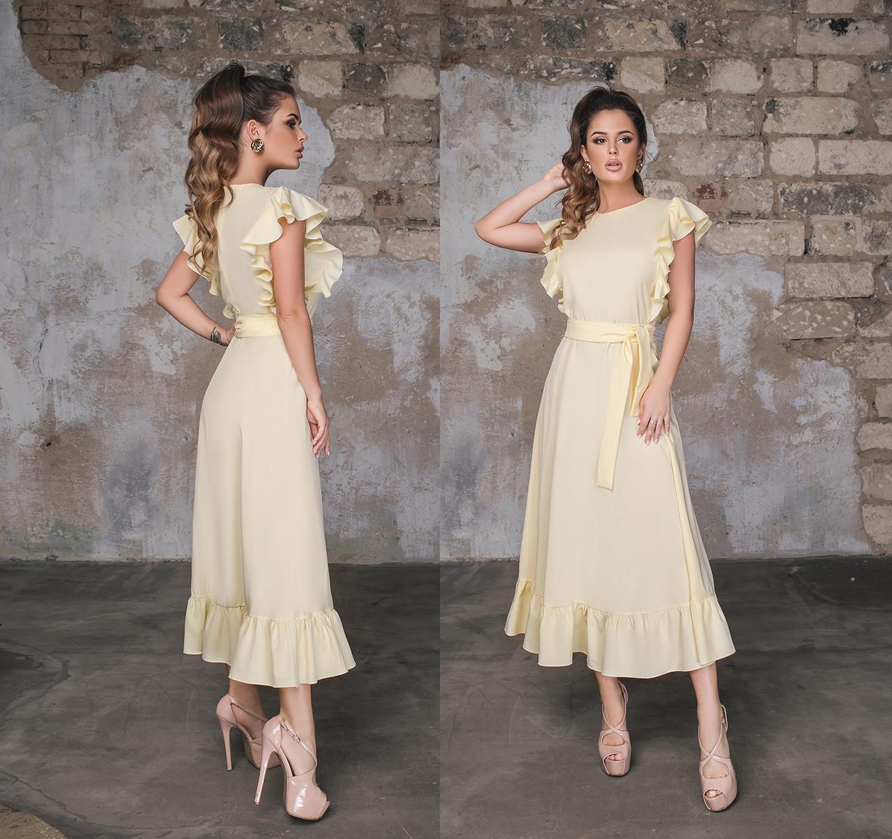 Женское летнее платье миди с воланами.Размеры:42-46.+Цвета
