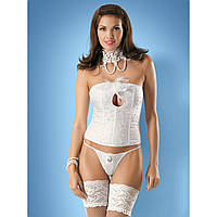 Красивый белый корсет Obsessive Mylove corset, фото 1