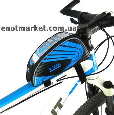 """Велосумка """"B-SOUL"""" прямоугольная нарамная с карманом для телефона 5,5 дюймов черного-синего цвета"""