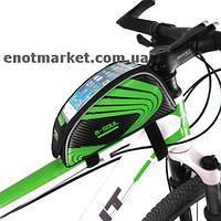 """Велосумка """"B-SOUL"""" прямоугольная нарамная с карманом для телефона 5,5 дюймов черного-зеленого цвета, фото 1"""