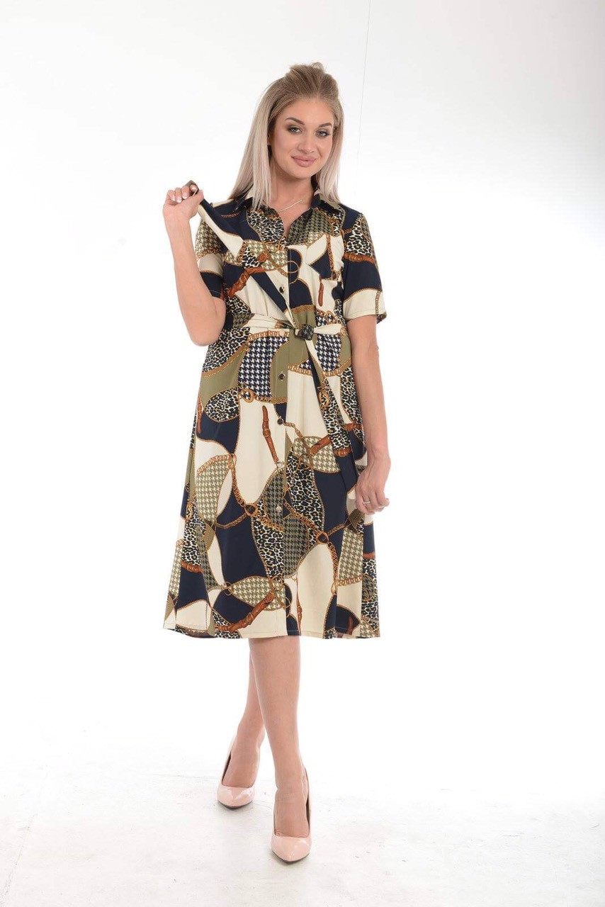 Платье-халат, расклешенное к низу, застежка на пуговицы, пояс в комплекте, р.50,54 код 1467М