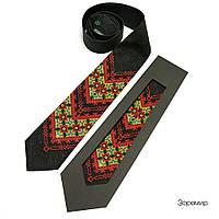 Вышитый галстук из льна черного цвета на подарок мужчине «Зоремир», фото 1
