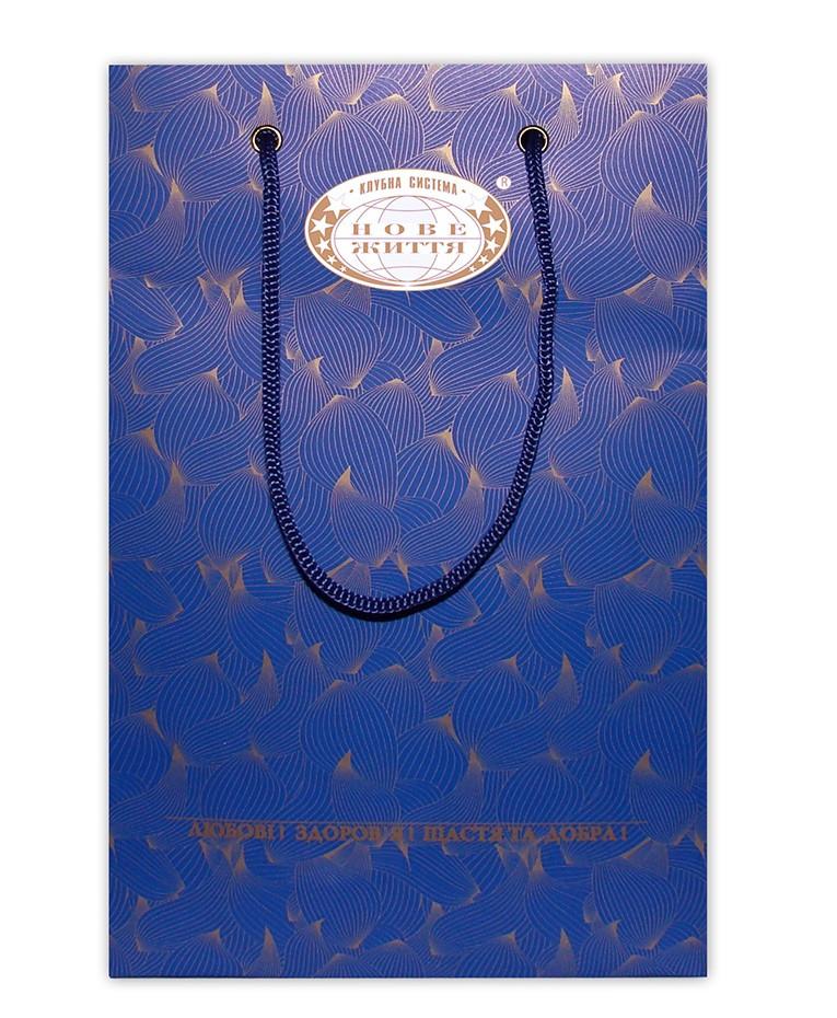 Пакет бумажный фирменный (синий) - Новая Жизнь