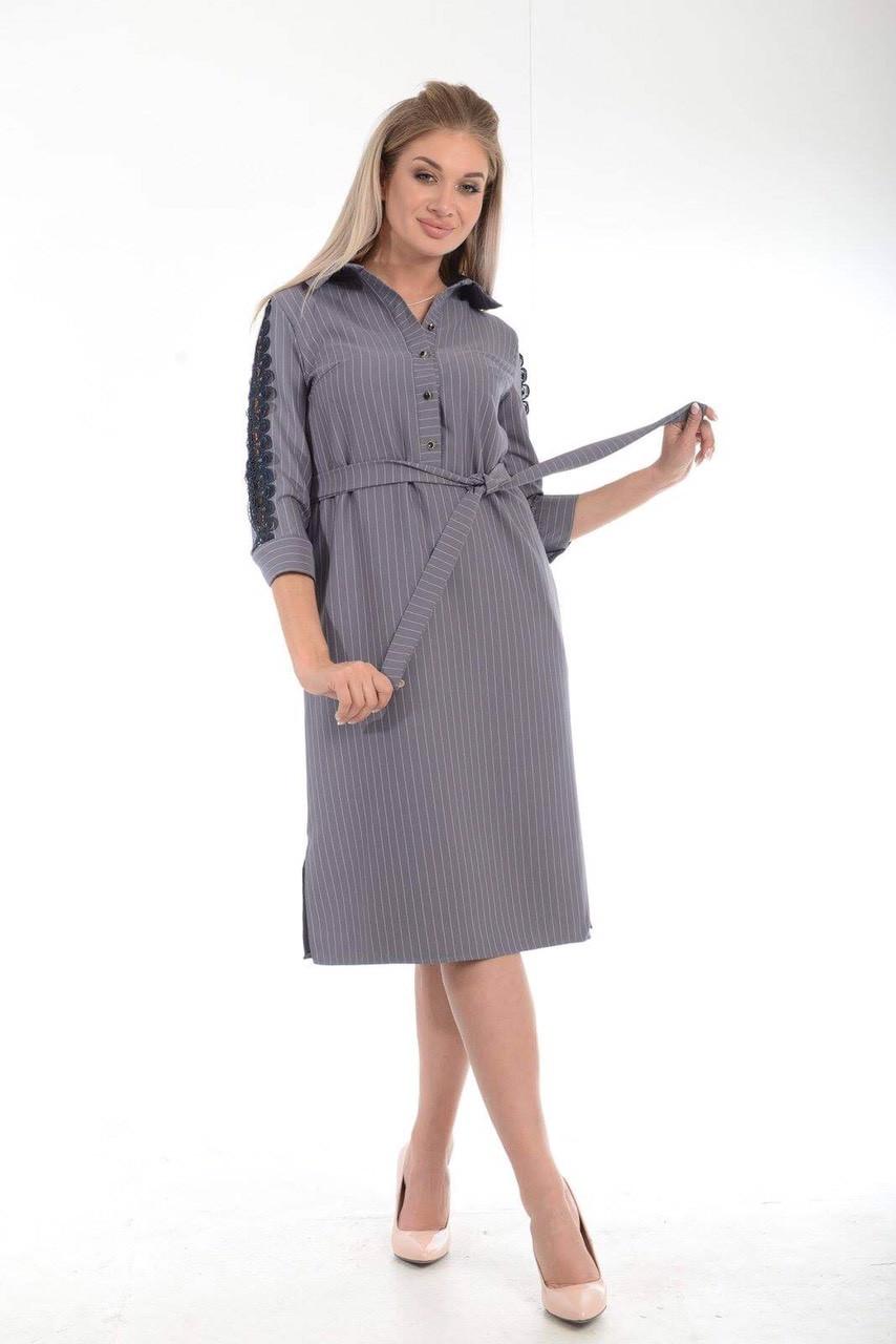 Сукня рівного крою, принт смужка, гудзики до пояса, тканий пояс в комплекті, р. 50,52 код 1473М