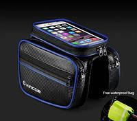 Велосумка нарамная двухсторонняя с карманом для телефона 5,5 дюймов черного цвета с синими полосками