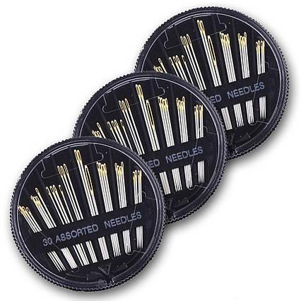 Набір голок Eschone для ручного шиття 3 коробки (90 шт) сталеві, фото 2