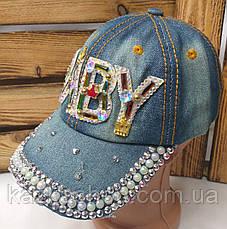Подростковая джинсовая кепка с декоративной вставкой Baby, сезон весна-лето, с регулятором, размер 54-55, фото 3